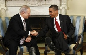 U.S. President Obama shakes hands with Israeli Prime Minister Netanyahu at the White House in Washington